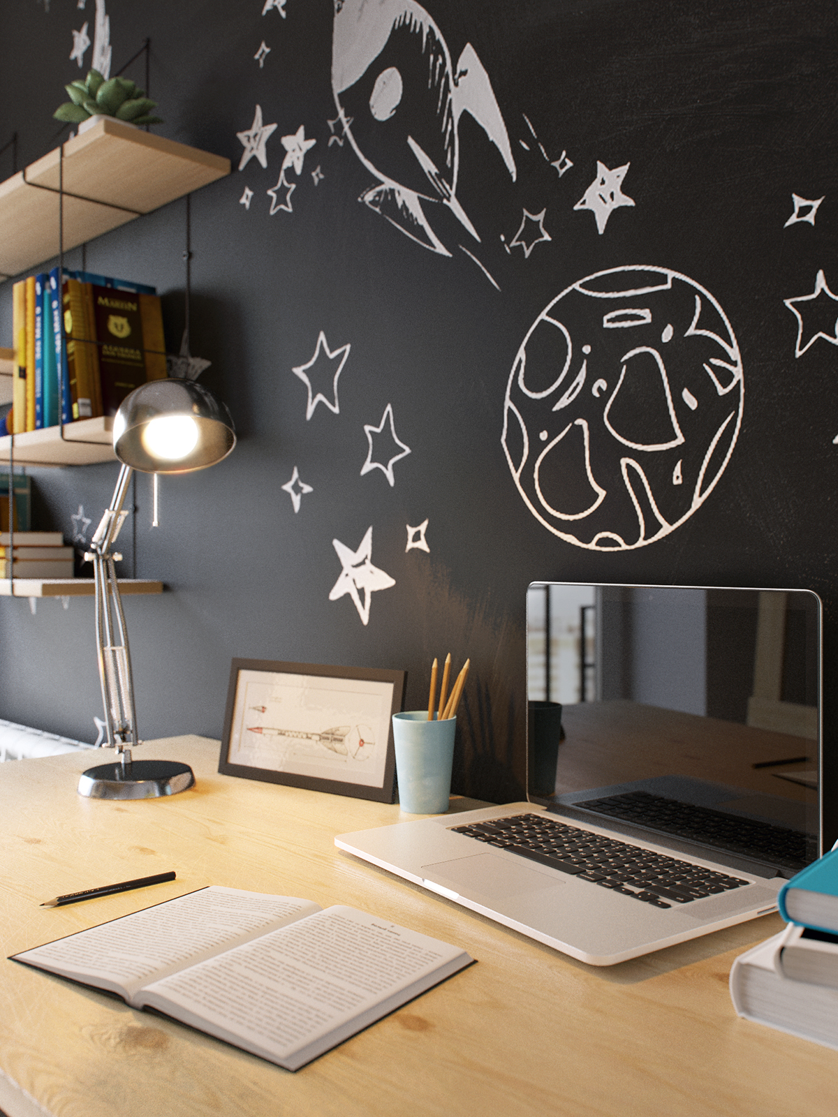 04-An-industrial-lamp-makes-the-study-space-more-stylish