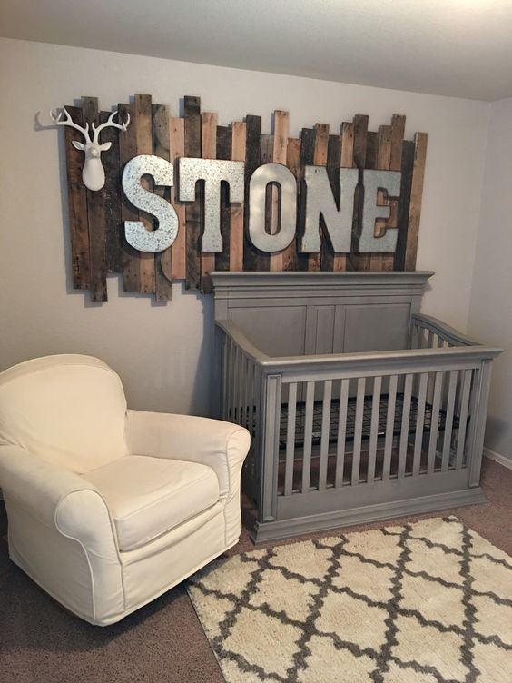 04-rustic-wood-pallet-sign-with-galvanized-metal-letters-above-the-babys-crib
