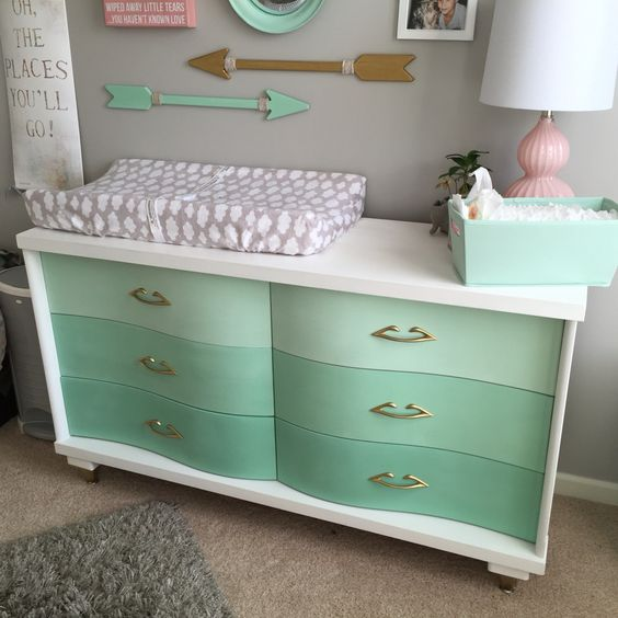 11-beautiful-vintage-dresser-renovated-into-a-changing-table-in-ombre-mint-and-white
