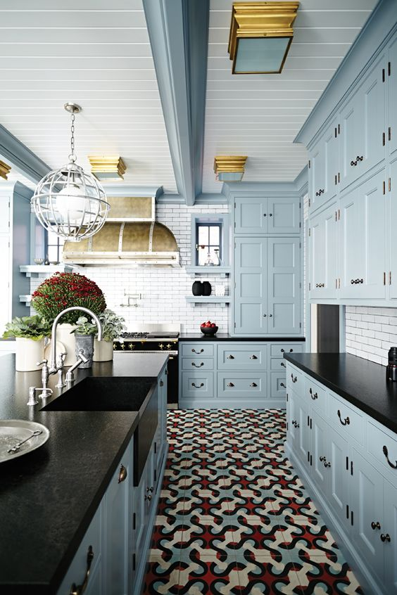 11-red-blue-and-cream-floor-tile-creates-an-ambience-in-this-kitchen