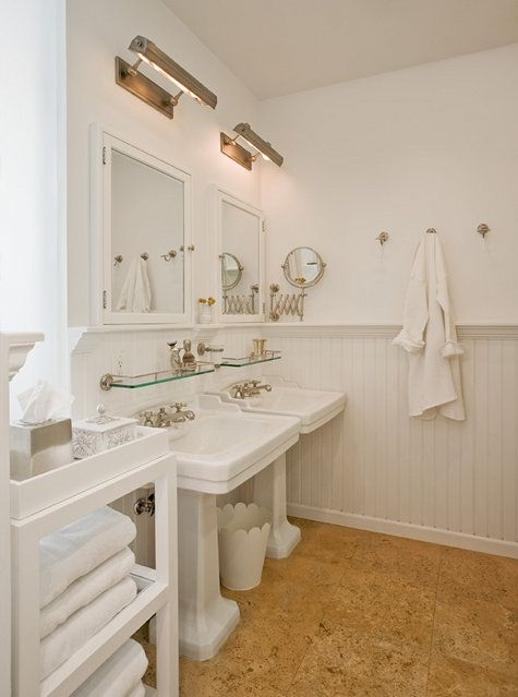 11-traditional-white-bathroom-is-highlighted-with-warm-cork-floors