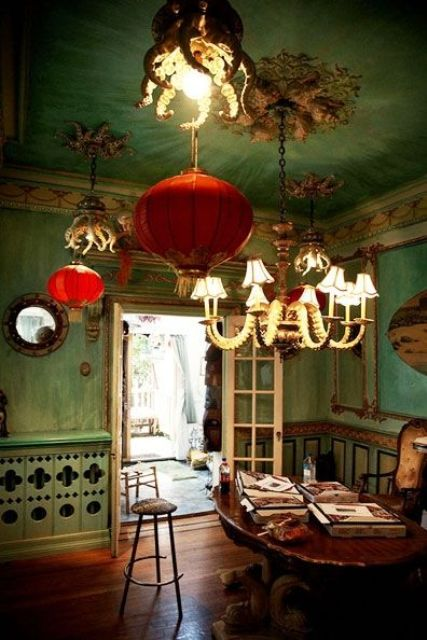 13-Pale-green-walls-with-red-Chinese-paper-lanterns-to-make-an-accent