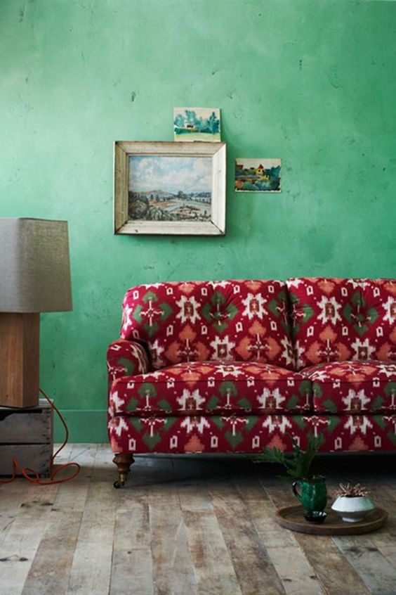 14-Light-green-walls-and-a-red-vintage-sofa