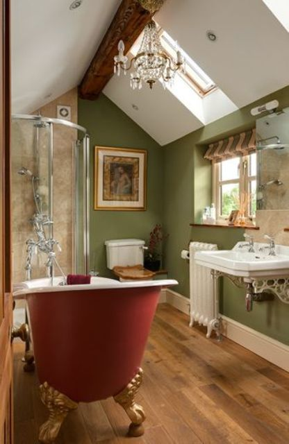 22-Sage-green-bathroom-with-a-red-free-standing-bathtub