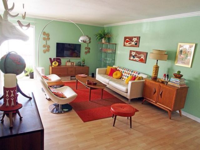 25-Mint-green-walls-of-this-mid-century-modern-living-room-are-balanced-with-a-red-rug-and-ottoman