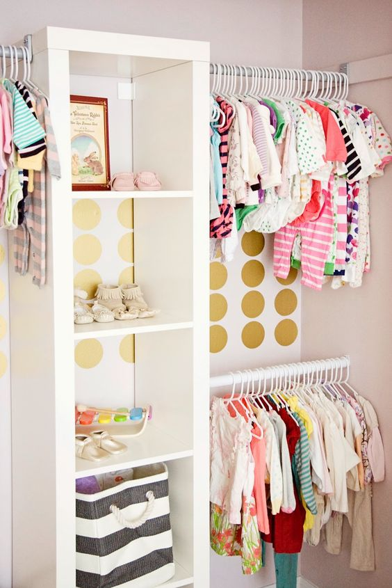 25-colorful-glam-closet-with-gold-polka-dots