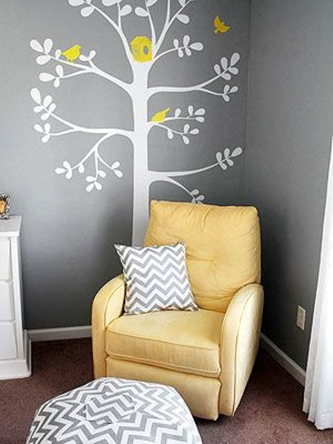 29-parent-nook-with-a-bold-yellow-chair-and-an-applique-on-the-wall