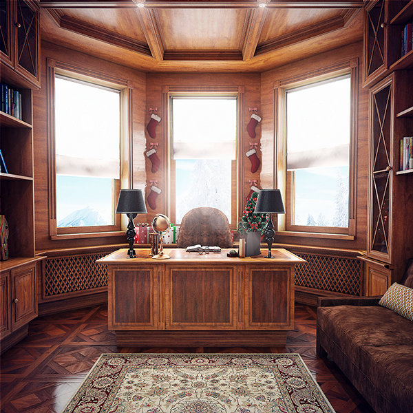 01-The-home-office-is-totally-clad-with-warm-wood-of-reddish-shade-and-it-makes-it-super-elegant
