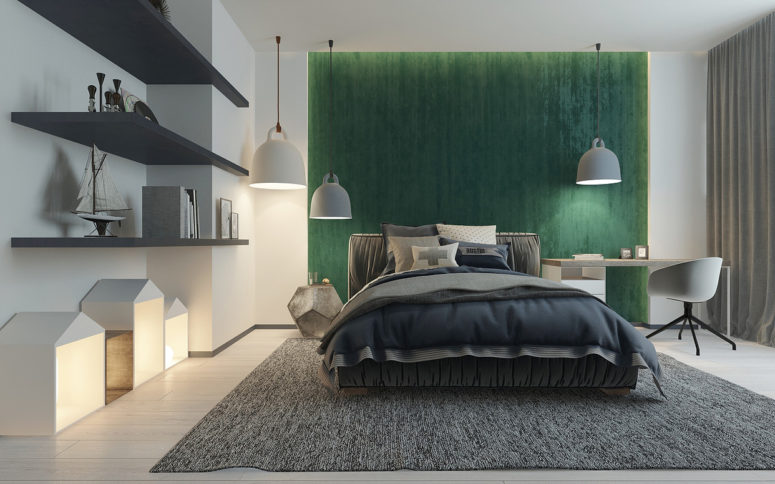 02-Theres-an-accent-wall-its-a-headboard-wall-covered-with-green-fabric-775x484