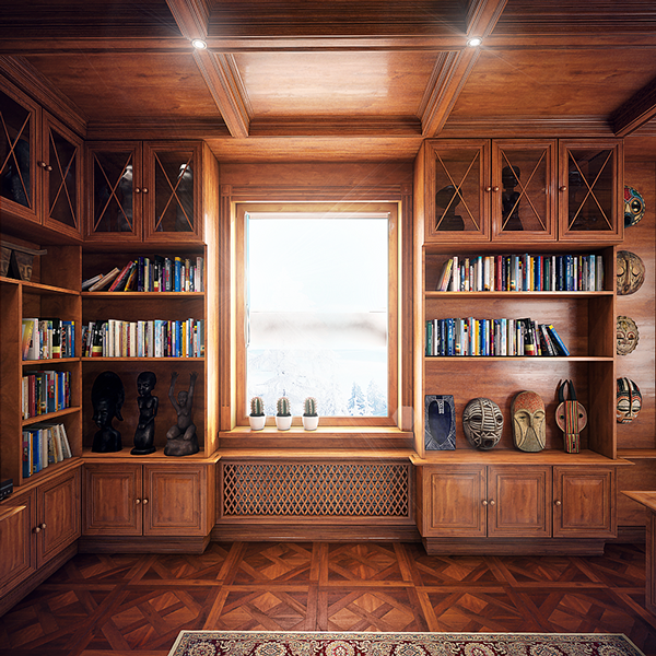 04-The-shelves-and-cabinets-cover-all-the-walls-in-the-home-office