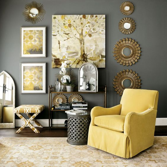 06-rather-dark-grey-wall-and-a-side-table-sunny-yellow-armchair-artworks-and-a-printed-chair