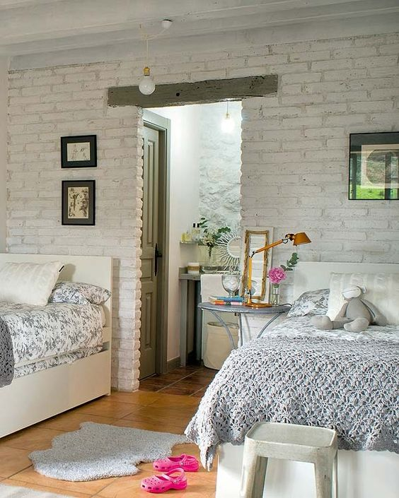 08-white-brick-wall-for-a-shared-girls-bedroom