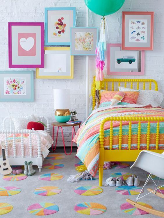 09-shared-girls-room-with-lots-of-color-and-a-whitewashed-headboard-wall