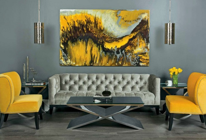 16-refined-living-room-in-grey-shades-looks-bolder-with-yellow-chairs-and-a-painting