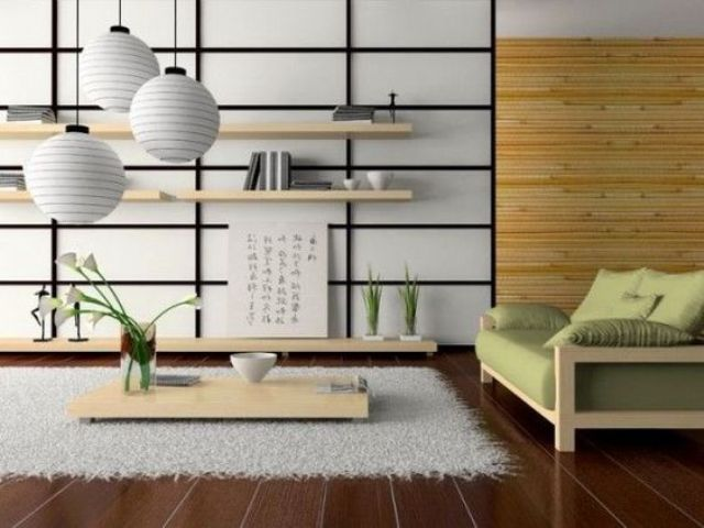 02-this-modern-Japanese-living-room-is-done-in-cream-and-light-green-with-light-woods