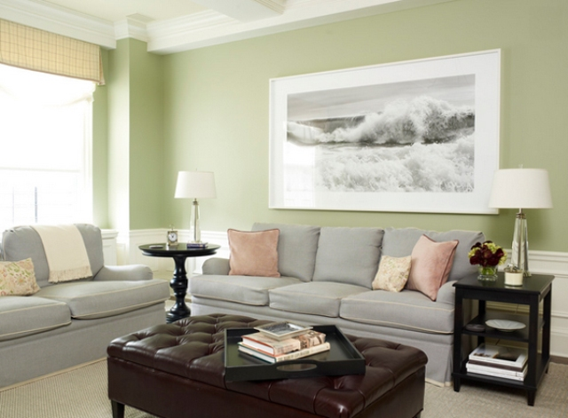 02-very-light-grey-sofas-and-green-walls-look-cozy-and-family-friendly