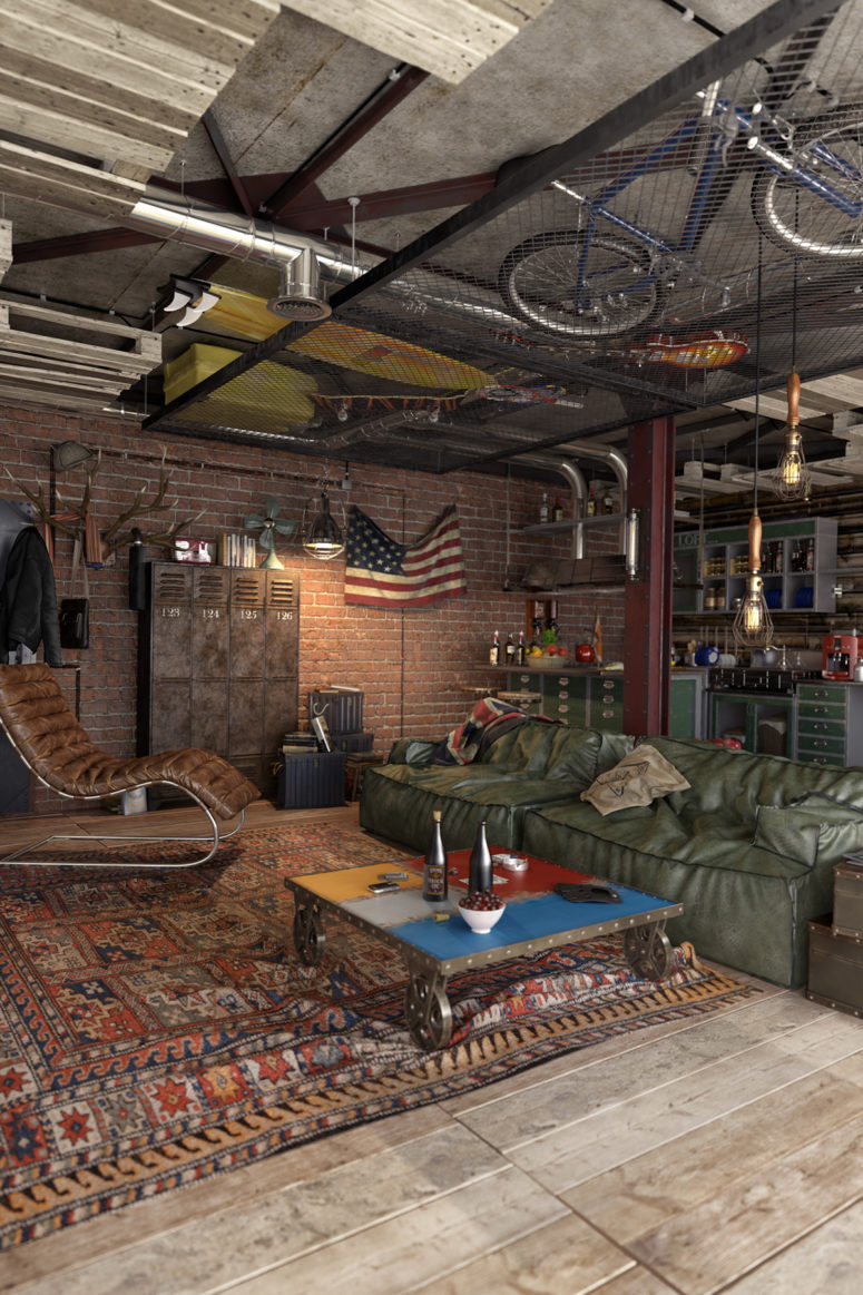 04-Leather-aged-metal-and-weathered-wood-are-widely-used-throughout-the-apartment-775x1163