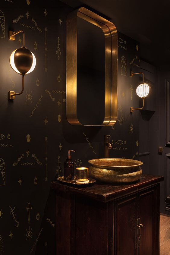 05-dark-wood-cabinet-black-patterned-walls-and-brass-decorations