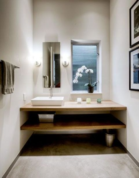 07-minimalist-Japanese-bathroom-with-white-concrete-walls-and-light-woods