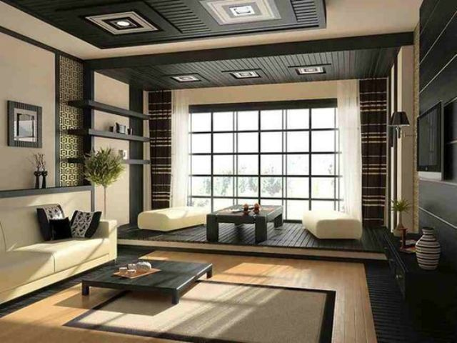 08-Japanese-inspired-space-in-dark-grey-and-cream-with-lots-of-wood-used
