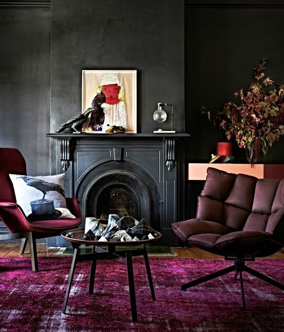 08-black-walls-and-red-and-fuchsia-furniture-and-a-carpet