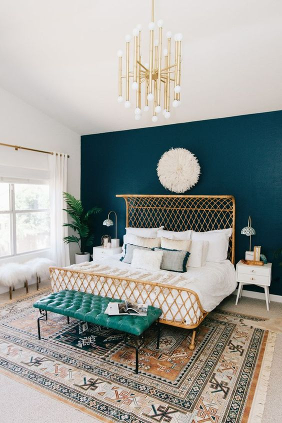 08-masculine-meets-feminine-bedroom-with-a-teal-headboard-wall-and-gilded-accessories