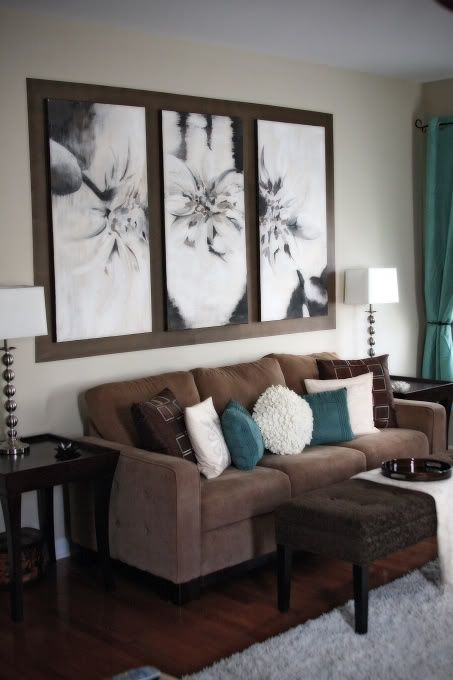 09-peaceful-brown-living-room-with-turquoise-pillows-and-draperies