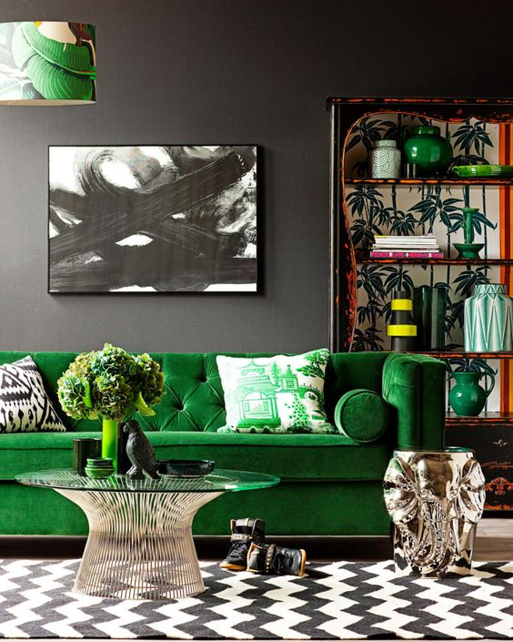 10-bold-living-room-in-grey-black-and-white-with-bright-green-splashes
