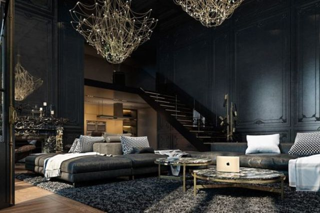 13-dark-Gothic-living-room-with-unique-gold-chandeliers-for-acentuating