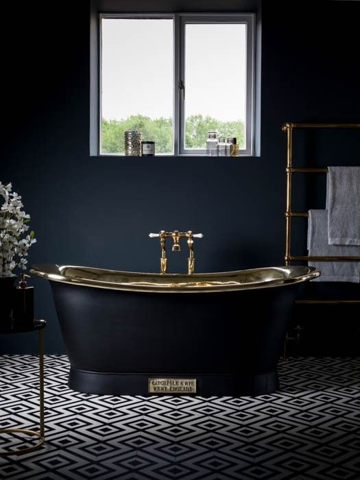 15-charcoal-grey-bathroom-with-brass-accents-and-a-retro-free-standing-bathtub