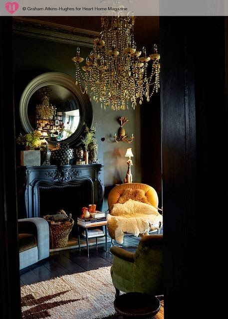 15-elegant-neoclassic-living-room-with-black-walls-an-antique-fireplace-and-a-gold-chandelier