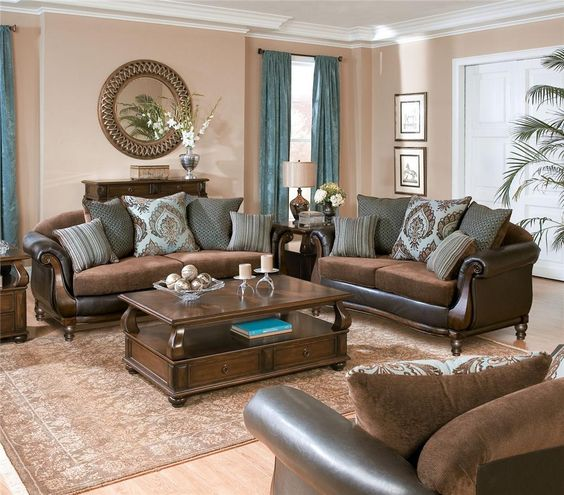 18-traditional-brown-living-room-in-rich-tones-refined-wood-and-blue-draperies-to-make-the-room-look-fresh