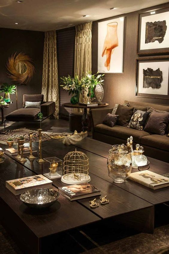 20-dark-chocolate-living-room-with-metallic-accents-and-greenery