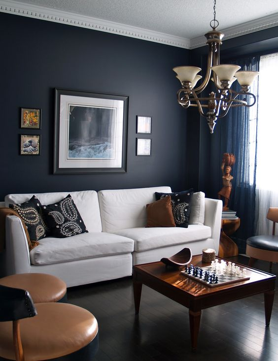 20-masculine-space-with-a-dark-navy-accent-wall-tan-chairs-warm-wood-furniture-and-accessories