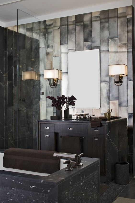 24-Great-Gatsby-inspired-bathroom-in-dark-marble-and-tiles