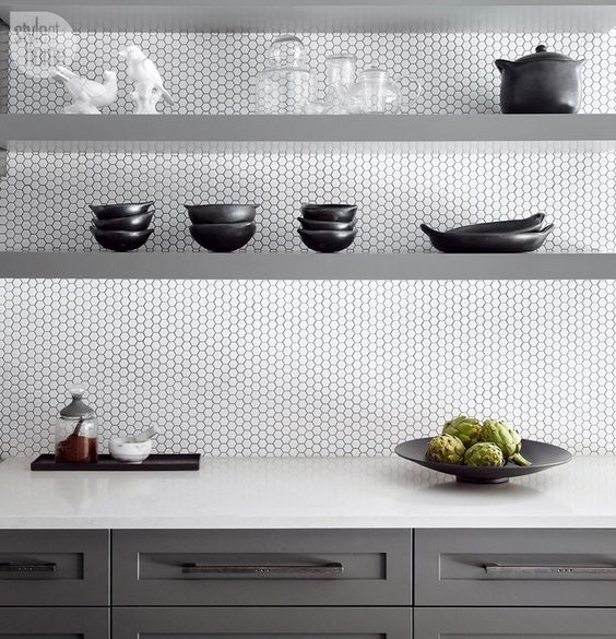 26-this-modern-kitchen-looks-stylish-white-penny-tiles-and-grey-sleek-shelves