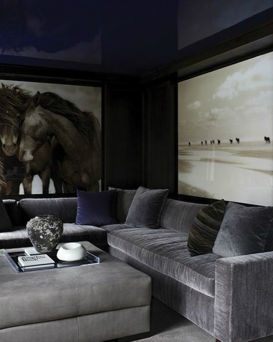 27-masculine-living-room-with-a-navy-ceiling-and-a-grey-velvet-sofa