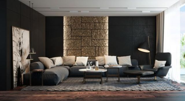 30-modern-living-room-black-walls-a-glitter-stone-accent-piece-and-an-oversized-artwork