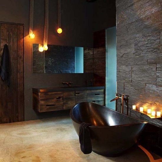 31-sexy-masculine-bathroom-with-a-dark-bathtub-dark-tiles-and-wooden-cabinets