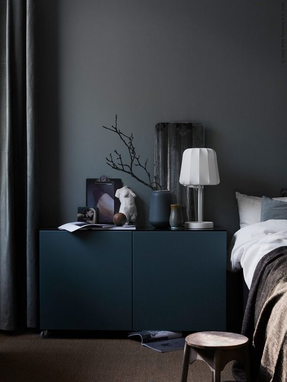 IKEA-bedroom-in-dark-colors-looks-very-modern-and-chic