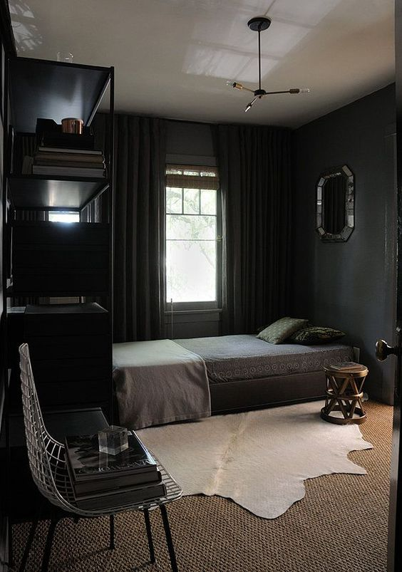 cozy-bedroom-in-black-with-textural-textiles