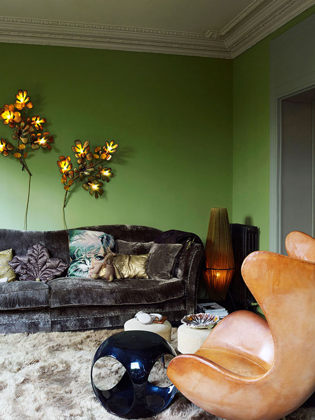 01-This-unique-eclectic-home-with-a-retro-vibe-is-in-decorated-in-moody-colors-by-its-owners