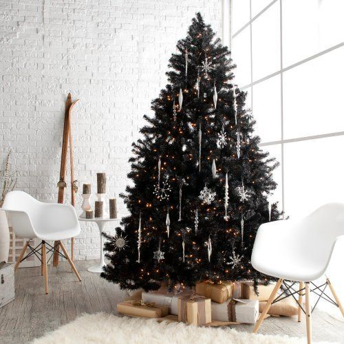 02-a-black-Christmas-tree-with-white-icicle-and-snowflake-ornaments