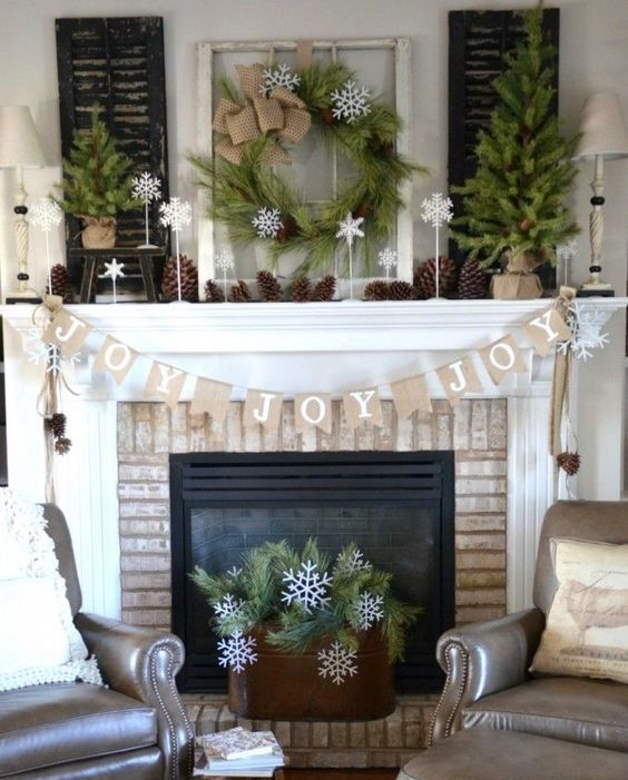 04-organic-decorated-mantel-with-pinecones-evergreens-and-burlap-is-ideal-if-you-want-something-rustic