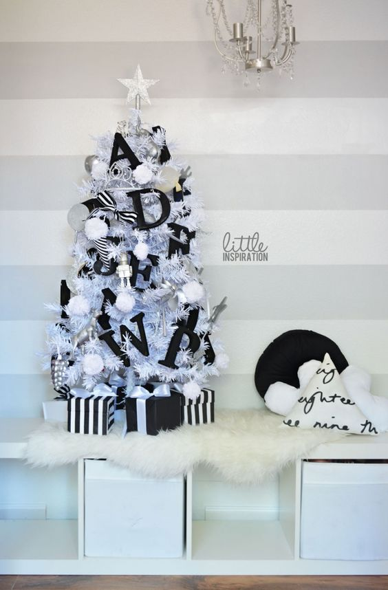 07-a-small-Christmas-tree-with-black-letter-decor-and-pompoms