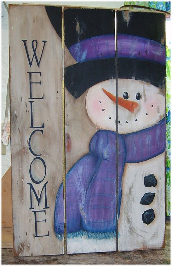 10-handpainted-snowman-sign-on-reclaimed-wood