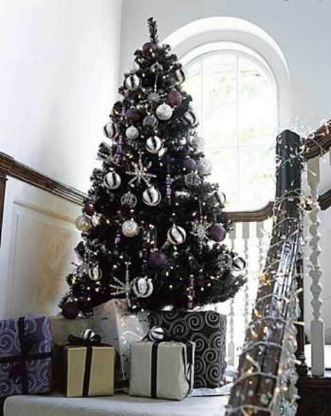 11-a-black-tree-with-white-and-purple-decor-looks-non-traditional-and-fresh