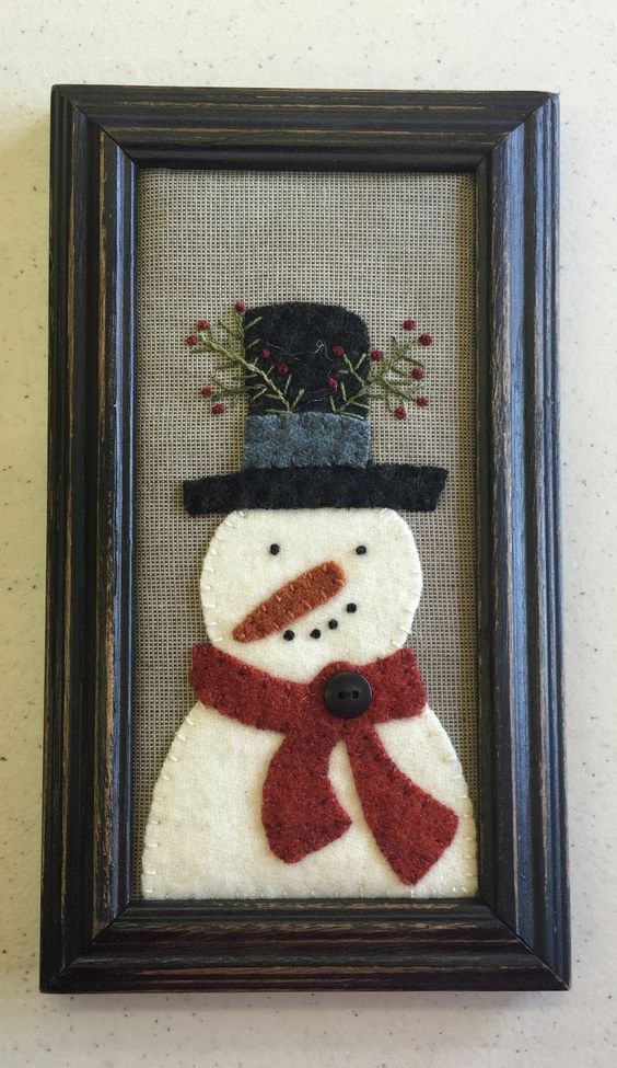 11-cotton-and-wool-snowman-framed-artwork-for-winter-decor
