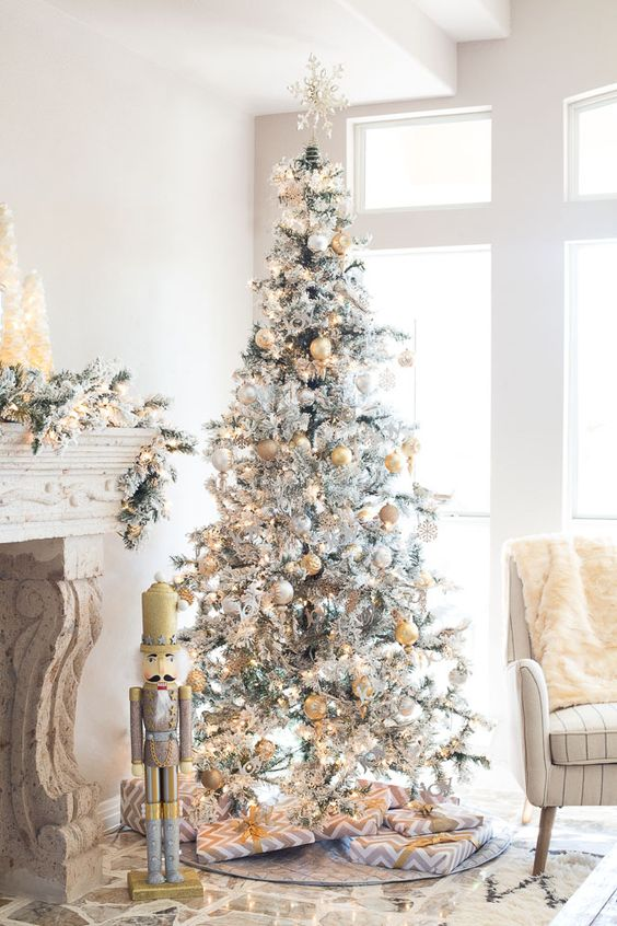 11-metallic-decor-is-a-popular-option-for-a-flocked-tree-as-it-bring-glam-and-chic