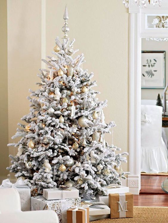 12-gold-and-silver-ornaments-look-neutral-and-chic-on-a-flocked-tree